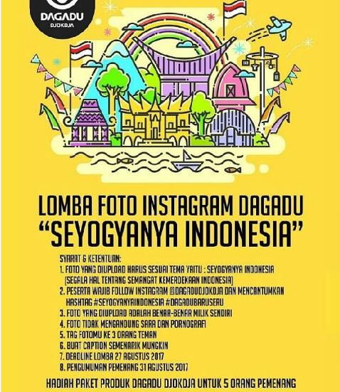 "Ikutan dan kirimkan karyamu untuk Lomba Foto Dagadu Djokdja ""Seyogyanya Indonesia"""